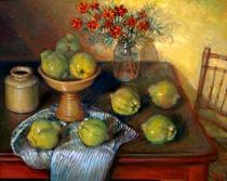 Elizabeth Olley: Quinces and Marigolds 1995