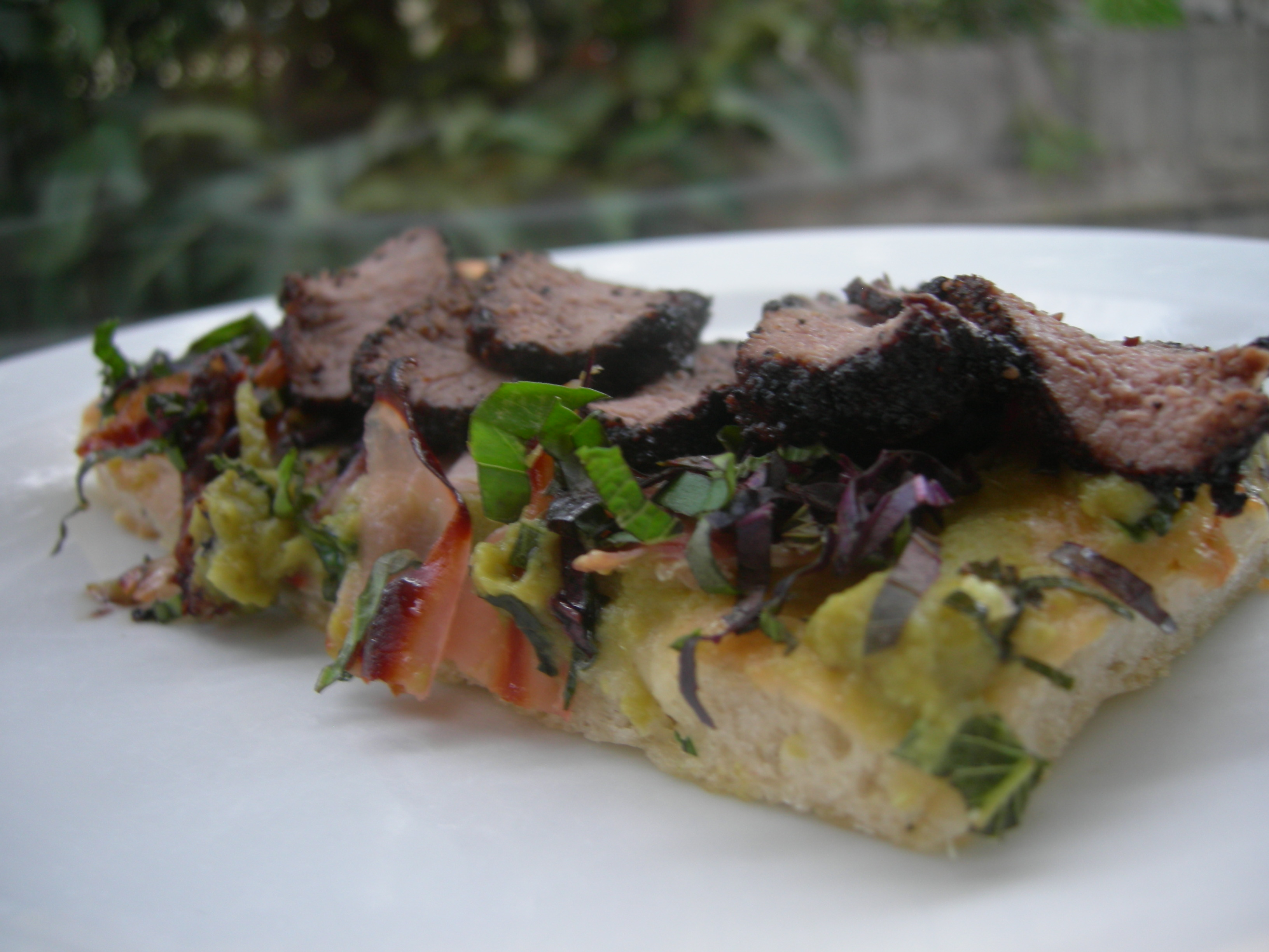 Pizza with Lamb and pea puree
